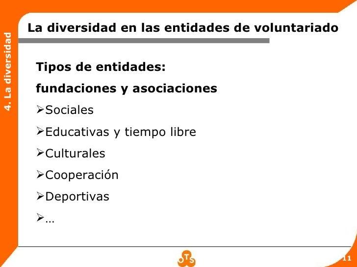 La diversidad en las entidades de voluntariado4. La diversidad                    Tipos de entidades:                    f...