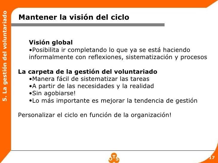 5. La gestión del voluntariado                                 Mantener la visión del ciclo                               ...