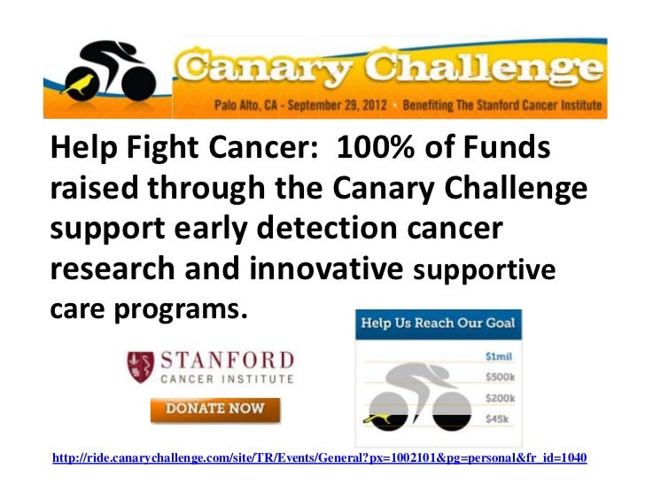 Help Fight Cancer: 100% of Fundsraised through the Canary Challengesupport early detection cancerresearch and innovative s...