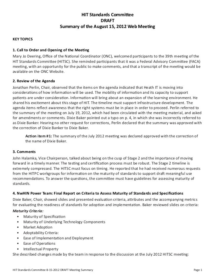 HIT Standards Committee                                                  DRAFT                                Summary of t...