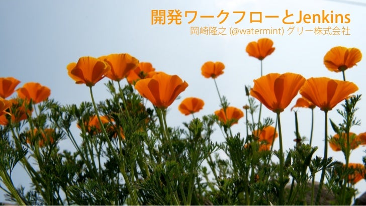 開発ワークフローとJenkins                        岡崎隆之 (@watermint) グリー株式会社2012-07-29, S406-5