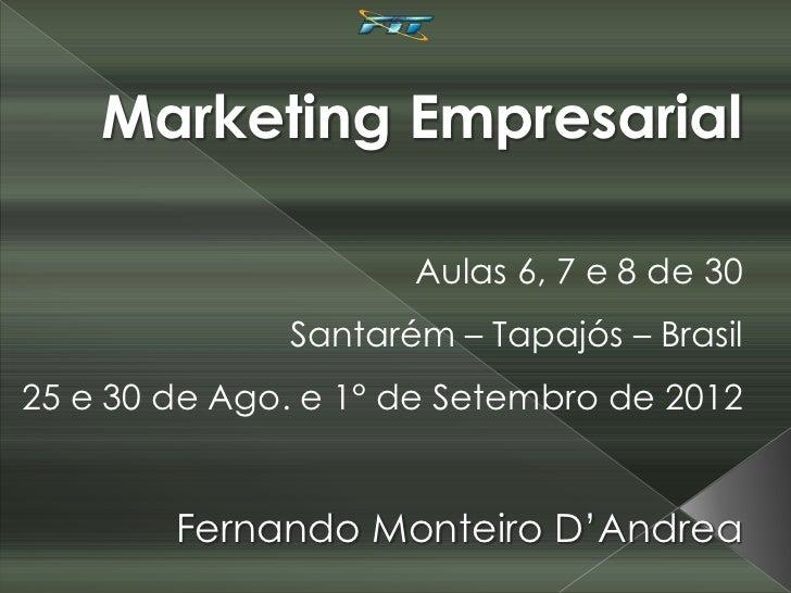 Marketing Empresarial                     Aulas 6, 7 e 8 de 30              Santarém – Tapajós – Brasil25 e 30 de Ago. e 1...