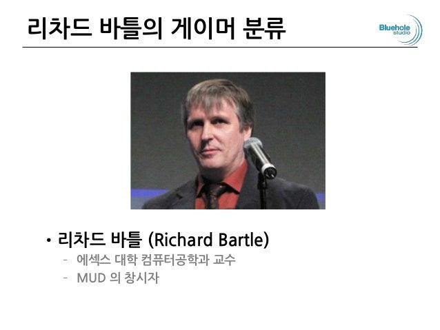 리차드 바틀의 게이머 분류 •리차드 바틀 (Richard Bartle) – 에섹스 대학 컴퓨터공학과 교수 – MUD 의 창시자 77