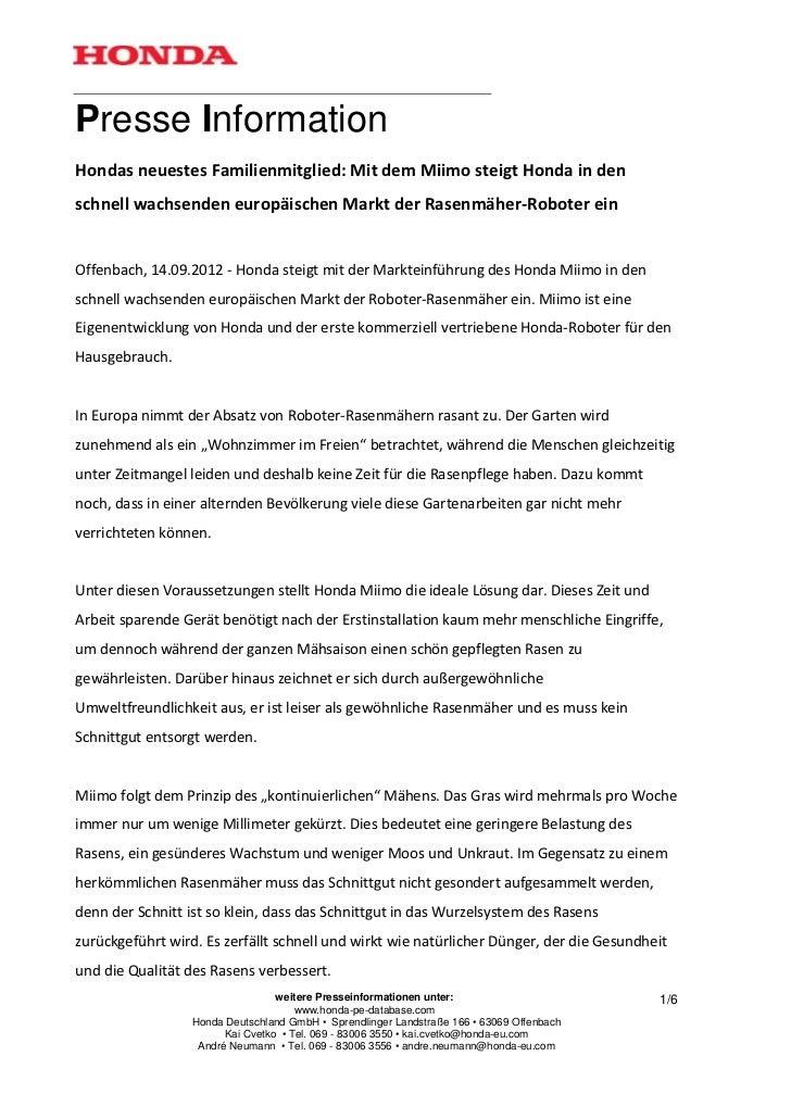 Presse InformationHondas neuestes Familienmitglied: Mit dem Miimo steigt Honda in denschnell wachsenden europäischen Markt...