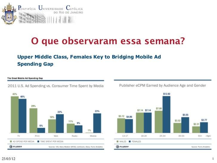 O que observaram essa semana?           Upper Middle Class, Females Key to Bridging Mobile Ad           Spending Gap23/03/...