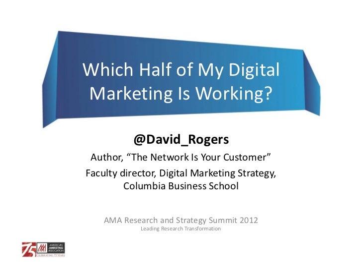 "WhichHalfofMyDigitalMarketingIsWorking?           @David_Rogers Author,""TheNetworkIsYourCustomer""Facultydirec..."