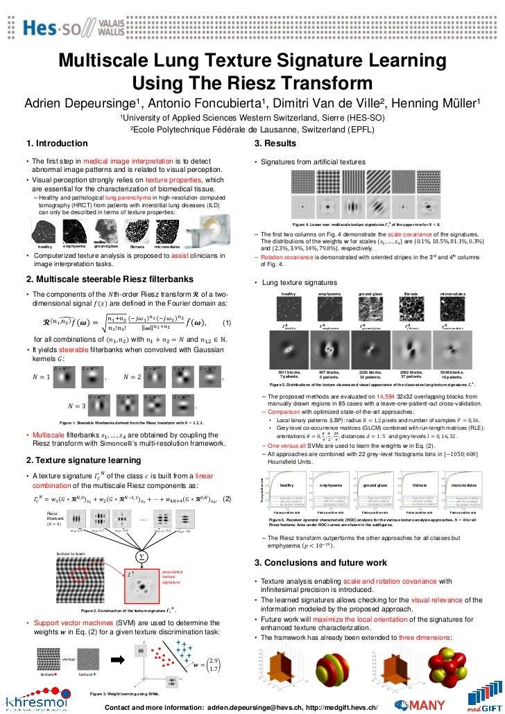 Multiscale Lung Texture Signature Learning                        Using The Riesz TransformAdrien Depeursinge¹, Antonio Fo...