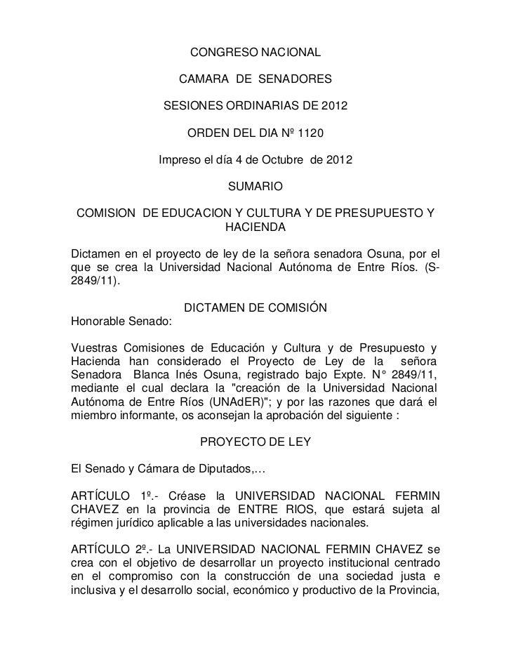 CONGRESO NACIONAL                     CAMARA DE SENADORES                  SESIONES ORDINARIAS DE 2012                    ...