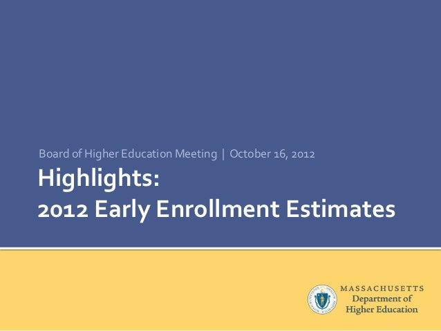 Board of Higher Education Meeting | October 16, 2012Highlights:2012 Early Enrollment Estimates