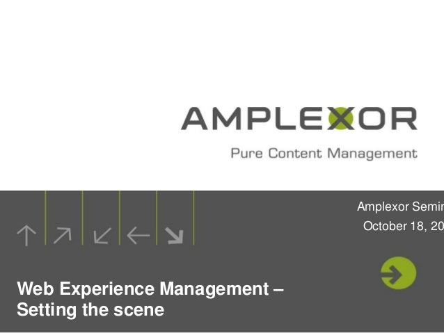 Amplexor Semin                              October 18, 20Web Experience Management –Setting the scene