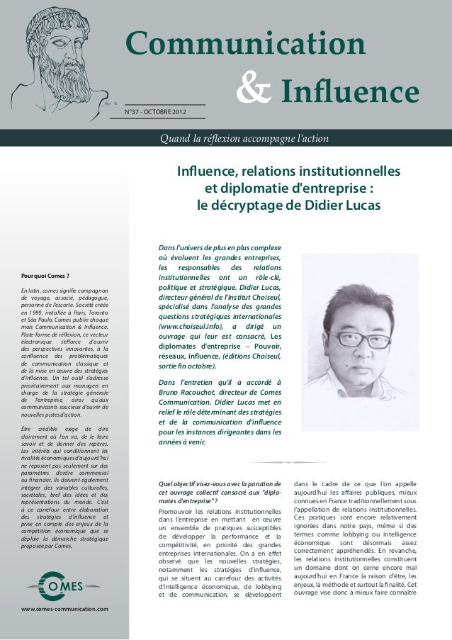 Communication                                       	 	 	 	 & Influence                                       N°37 - OCTOB...