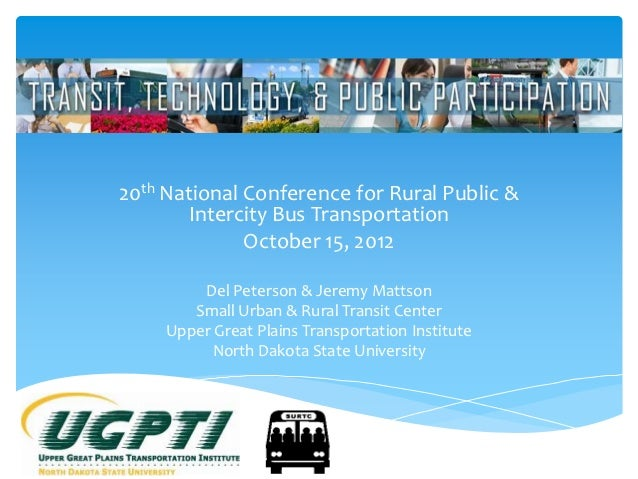 20th National Conference for Rural Public &       Intercity Bus Transportation              October 15, 2012         Del P...
