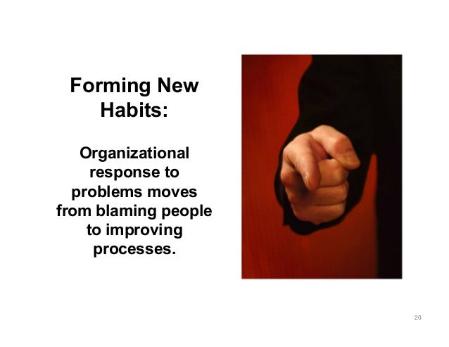 Forming New Habits: Organizational response to problems moves from blaming people to improving processes. 20