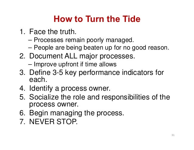How to Turn the Tide 1. Face the truth. – Processes remain poorly managed. – People are being beaten up for no good reason...