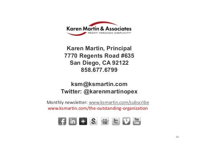 34 Karen Martin, Principal 7770 Regents Road #635 San Diego, CA 92122 858.677.6799 ksm@ksmartin.com Twitter: @karenmartino...