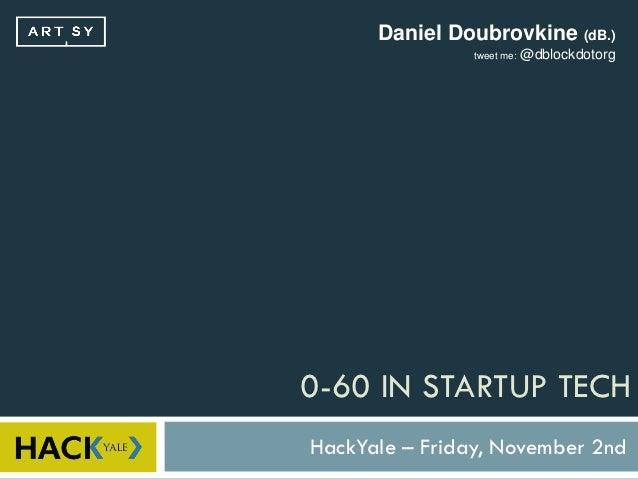 Daniel Doubrovkine (dB.)                tweet me:   @dblockdotorg0-60 IN STARTUP TECHHackYale – Friday, November 2nd