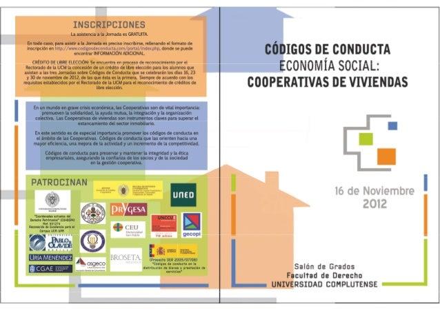 Jornada Códigos de Conducta Economía Social y Cooperativas de Viviendas