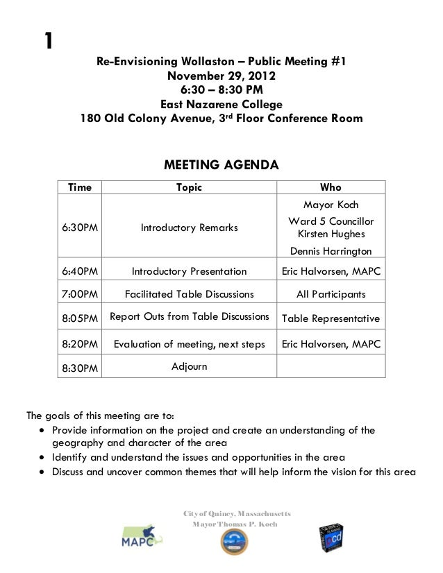 1             Re-Envisioning Wollaston – Public Meeting #1                          November 29, 2012                     ...