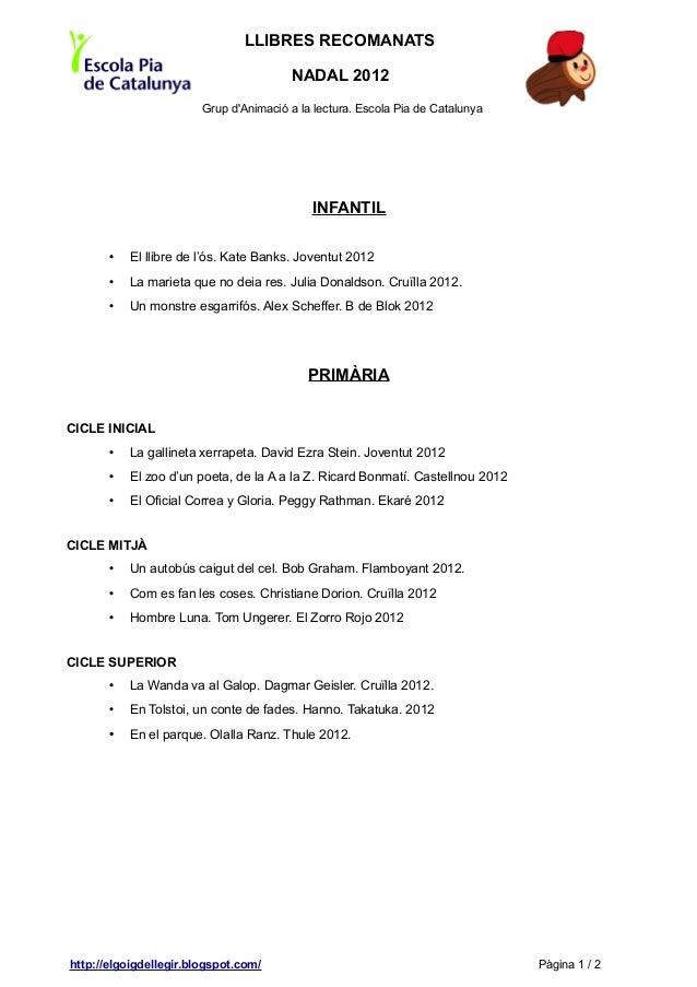 LLIBRES RECOMANATS                                        NADAL 2012                        Grup dAnimació a la lectura. E...