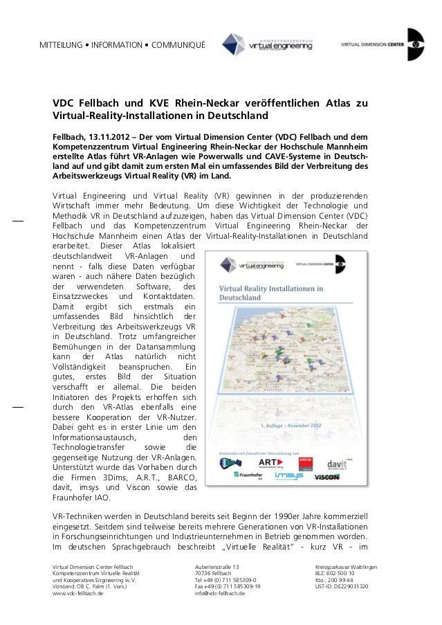MITTEILUNG • INFORMATION • COMMUNIQUÉ  VDC Fellbach und KVE Rhein-Neckar veröffentlichen Atlas zu  Virtual-Reality-Install...