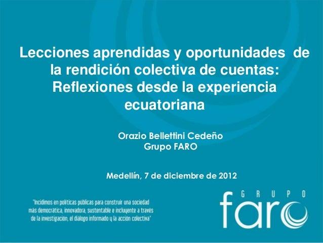 Lecciones aprendidas y oportunidades de    la rendición colectiva de cuentas:     Reflexiones desde la experiencia        ...
