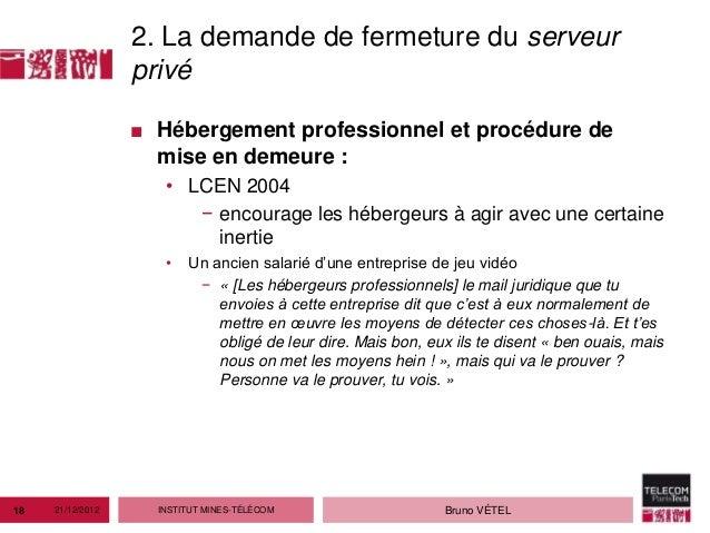 2. La demande de fermeture du serveur                  privé                  ■ Hébergement professionnel et procédure de ...