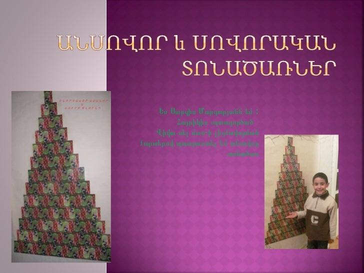 Ես Սարգիս Մարգարյանն եմ :  Հայրիկիս օգտագործած  Վիվա սել մտս-ի լիցքավորման քարտերով պատրաստել եմ անսովոր տոնածառ