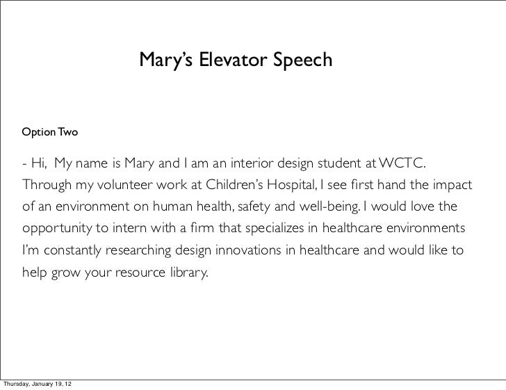Thursday January 19 12 21 Marys Elevator Speech