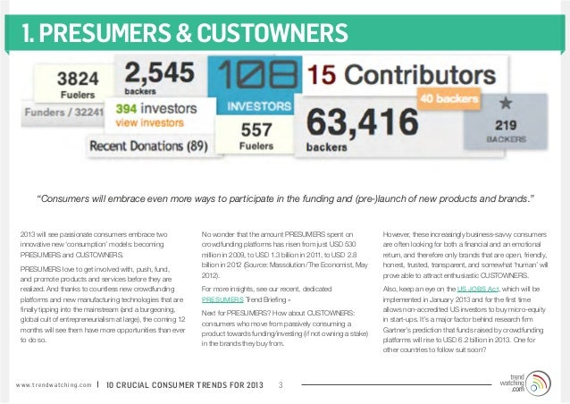 """1. PRESUMERS & CUSTOWNERS          """"Consumers will embrace even more ways to participate in the funding and (pre-)launch o..."""