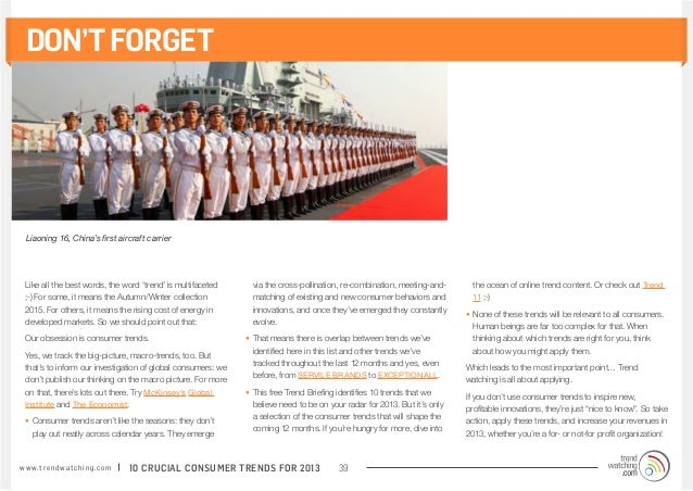 DON'T FORGET  Liaoning 16, China's first aircraft carrier  Like all the best words, the word 'trend' is multifaceted      ...