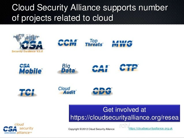 Cloud Security Alliance supports numberof projects related to cloud                           Get involved at             ...