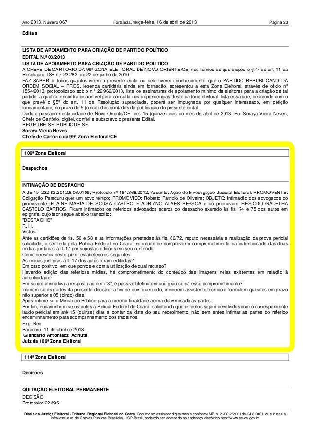 Ano 2013 067, Número Fortaleza, Página 23terça-feira, 16 de abril de 2013 Diário da Justiça Eleitoral - Tribunal Regional ...