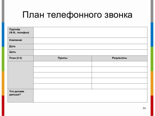 План телефонного звонка Партнѐр (Ф.И., телефон) Компания Дата Цель План (3-5) Пункты Результаты Что делаем дальше? 54