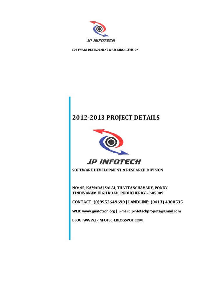 SOFTWARE DEVELOPMENT & RESEARCH DIVISION2012-20132012 2013 PROJECT DETAILSSOFTWARE DEVELOPMENT & RESEARCH DIVISIONNO: 45, ...