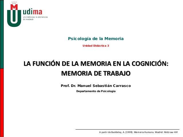 LA FUNCIÓN DE LA MEMORIA EN LA COGNICIÓN:MEMORIA DE TRABAJOPsicología de la MemoriaUnidad Didáctica 3Prof. Dr. Manuel Seba...
