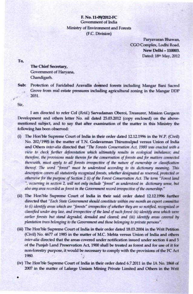 2012.05.18 dg forests mo ef letter to chief secretary haryana