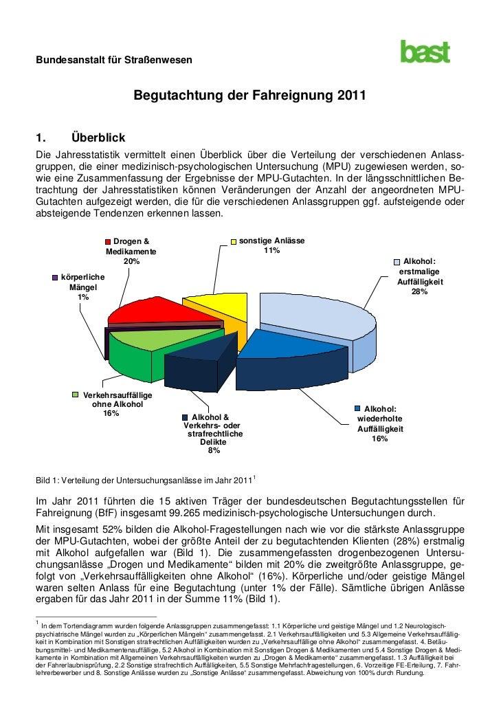 Bundesanstalt für Straßenwesen                                 Begutachtung der Fahreignung 20111.          ÜberblickDie J...