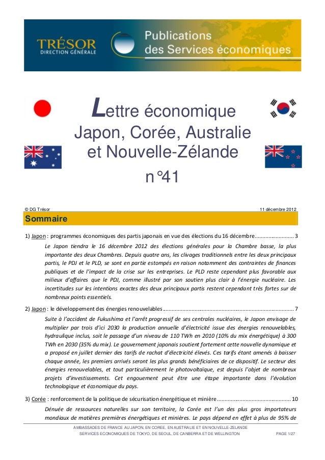 Lettre économique                          Japon, Corée, Australie                           et Nouvelle-Zélande          ...