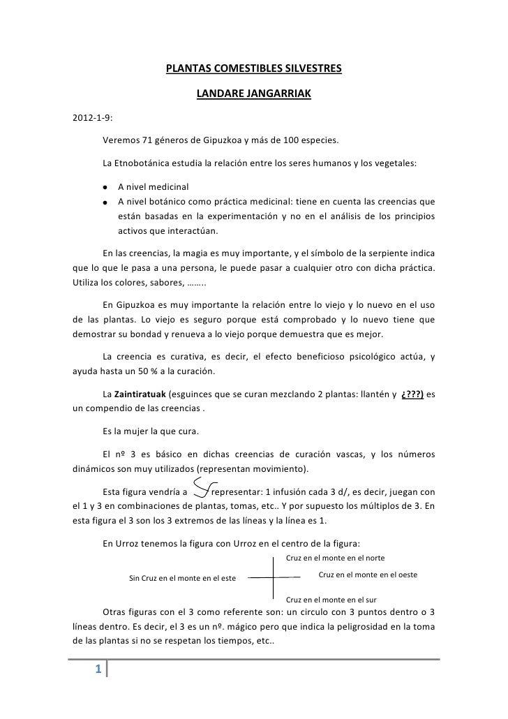 PLANTAS COMESTIBLES SILVESTRES                                  LANDARE JANGARRIAK2012-1-9:         Veremos 71 géneros de ...