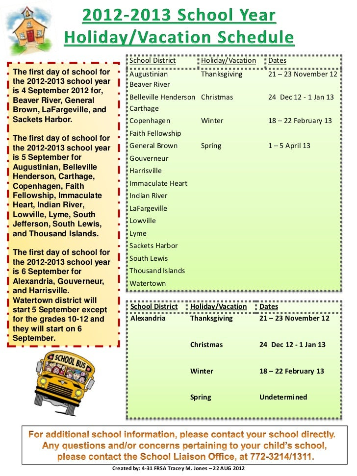 School District             Holiday/Vacation      DatesThe first day of school for         Augustinian                 Tha...