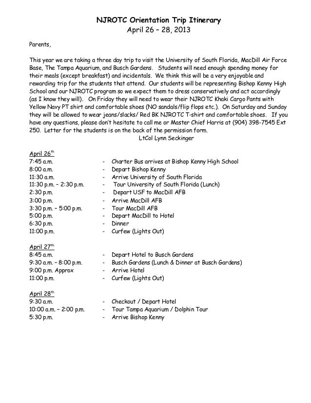 NJROTC Orientation Trip Itinerary                                April 26 – 28, 2013Parents,This year we are taking a thre...