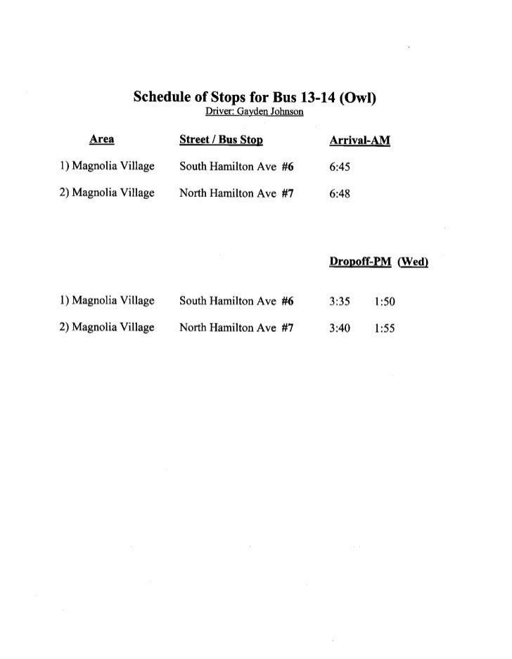2012 - 2013 LCSD bus schedule [updated]