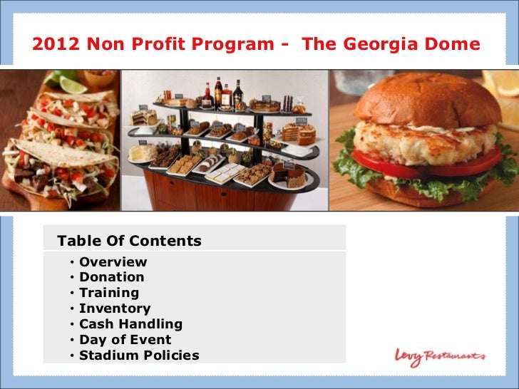 2012 Non Profit Program - The Georgia Dome  Table Of Contents   •   Overview   •   Donation   •   Training   •   Inventory...