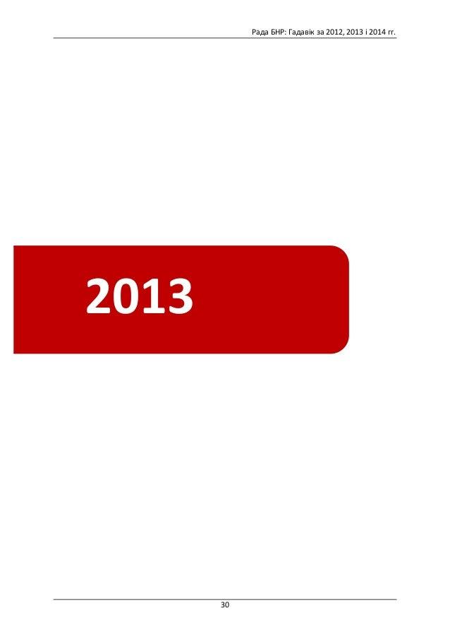 Рада  БНР:  Гадавік  за  2012,  2013  і  2014  гг.      30            20122013