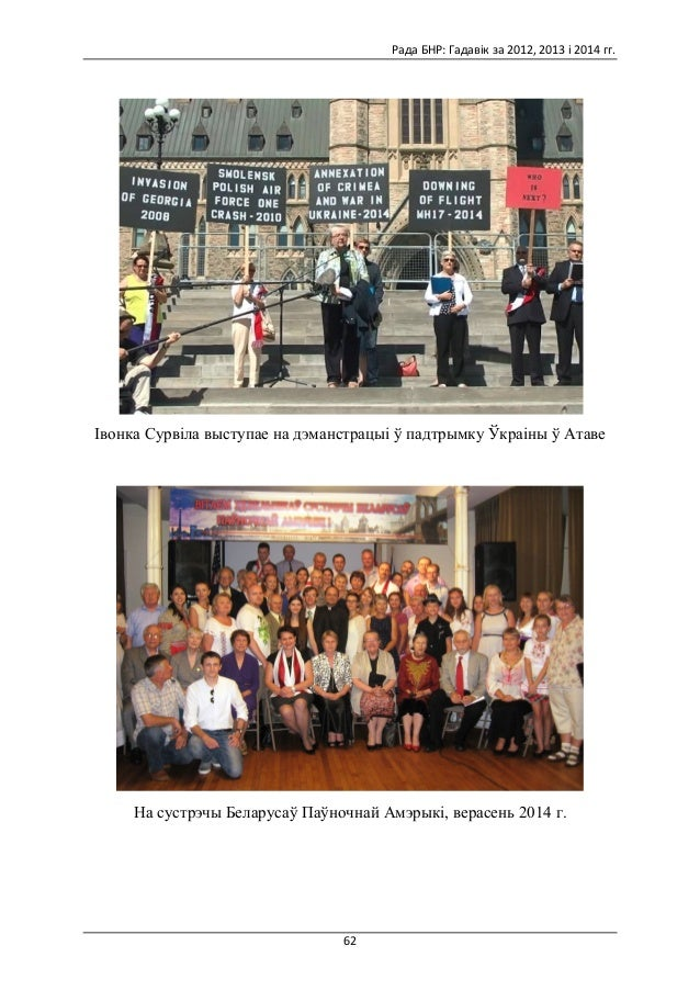 Гадавік Рады БНР за 2012, 2013, 2014