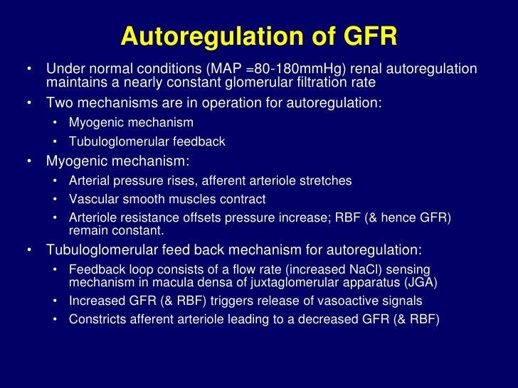 Autoregulation of GFR and RBF