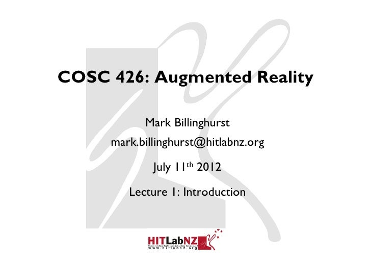 426 lecture1: Introduction to AR