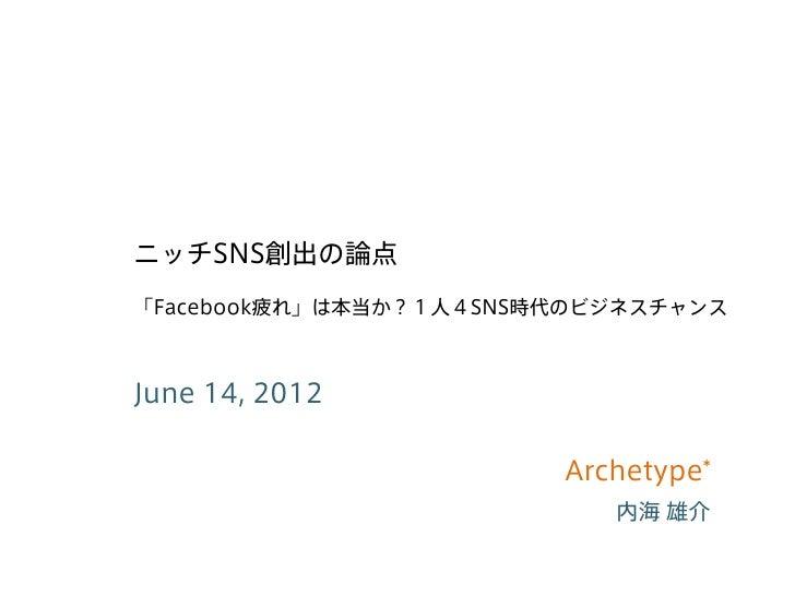 ニッチSNS創出の論点「Facebook疲れ」は本当か?1人4SNS時代のビジネスチャンスJune 14, 2012                        Archetype*                           内海 雄介