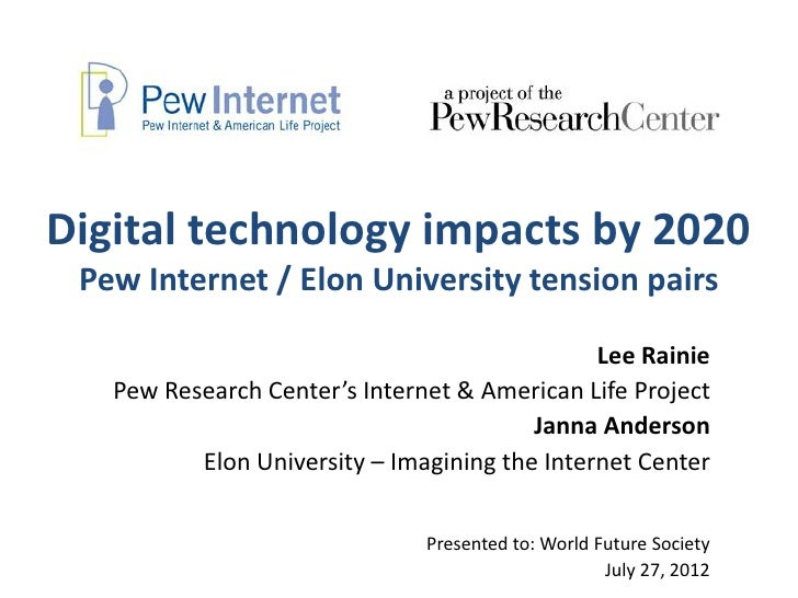 Digital technology impacts by 2020 Pew Internet / Elon University tension pairs                                           ...