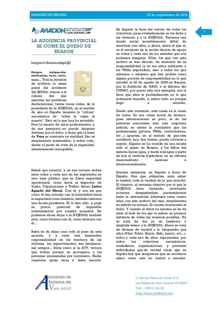 DOSSIER DE PRENSA                                                    20 de septiembre de 2012                             ...